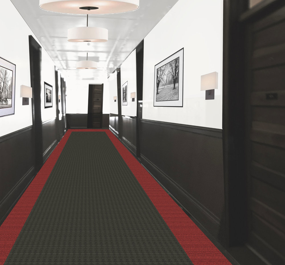 The interior hallway features an updated version of a classic theme.
