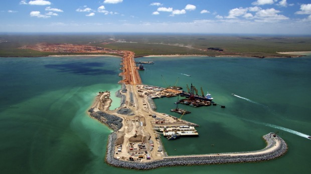 The Gorgon LNG facility off the coast of Western Australia during construction. Recent government estimates indicate that it will be two decades or more before Chevron's massive resource projects in Australia pay any PRRT tax.
