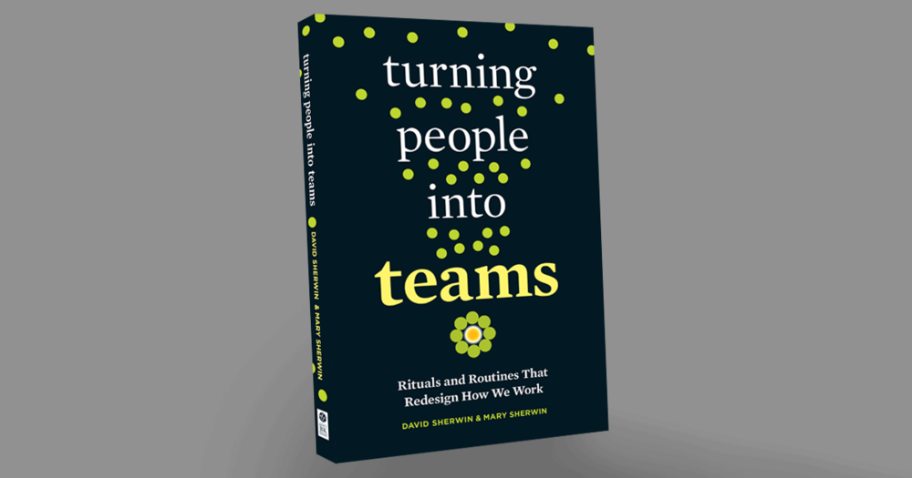 """A digital image of the cover of the book """"Turning People Into Teams: Rituals and Routines That Redesign How We Work"""" by David Sherwin and Mary Sherwin."""
