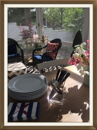 """Help Yourself"" dinner on the back porch...paper napkins included;)"