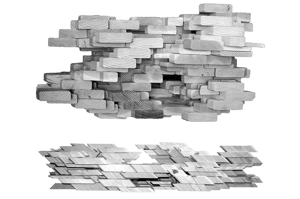 "lumber landscape, 36"" x 18"" x 12"""