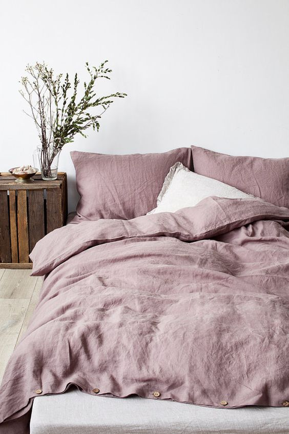 - Keepin' this color humble but still linen-luscious, simple, and rustic (this linen bedding:  HERE )
