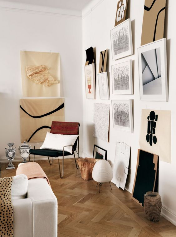 For the serious art lover with a sense of humor: don't take hanging up the work so seriously, let it be playful and relaxed.