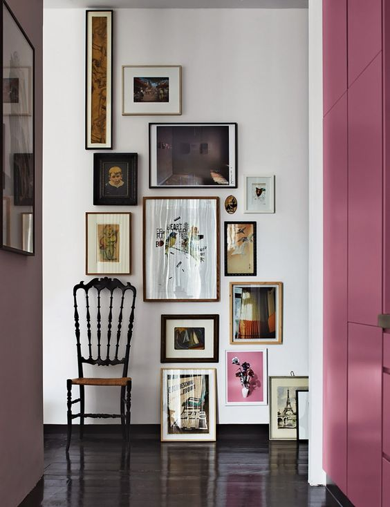 For the eclectic: different frames, different sizes, let the art guide you to unexpected arrangements.