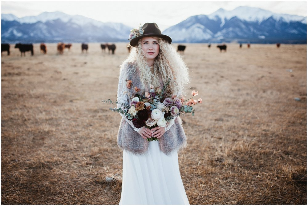 rocky mountain bridal shoot, fur vest, bride