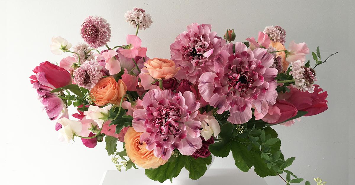 Fast Flower Video Vibrant Floral Arrangement With Spirea Geranium Sweet Pea And Ranunculus