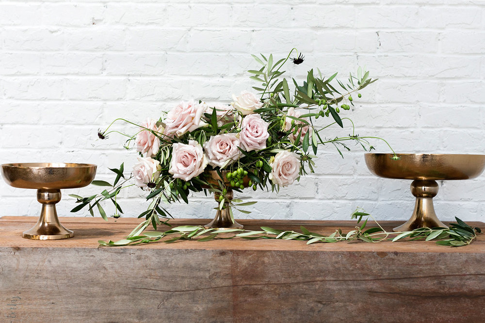 Vienna Compote - Aluminum compote with a soft rose gold finish. An elegant piece to grace the center of any table.