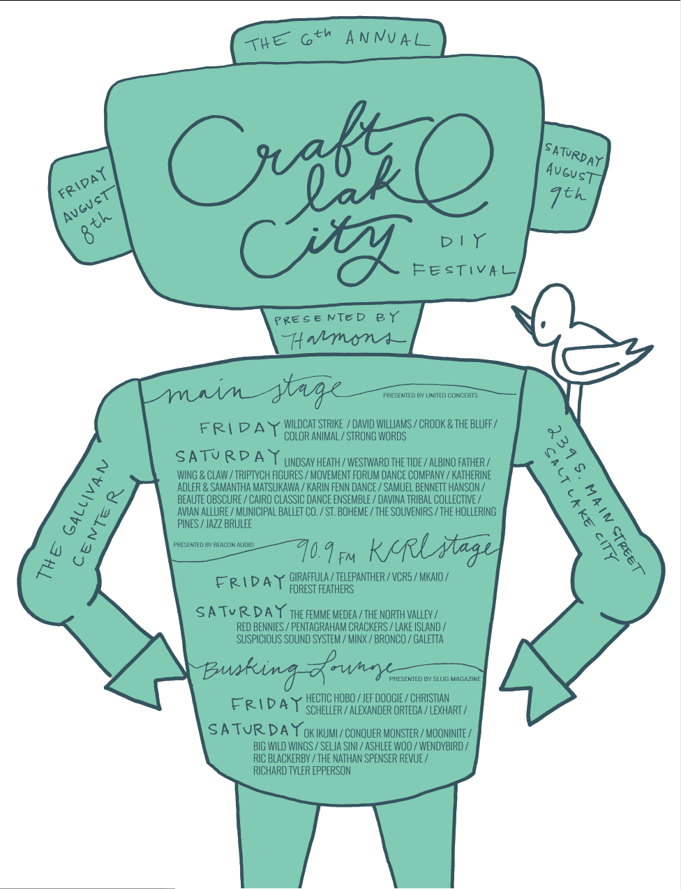 Concert poster for Craft Lake City DIY Festival