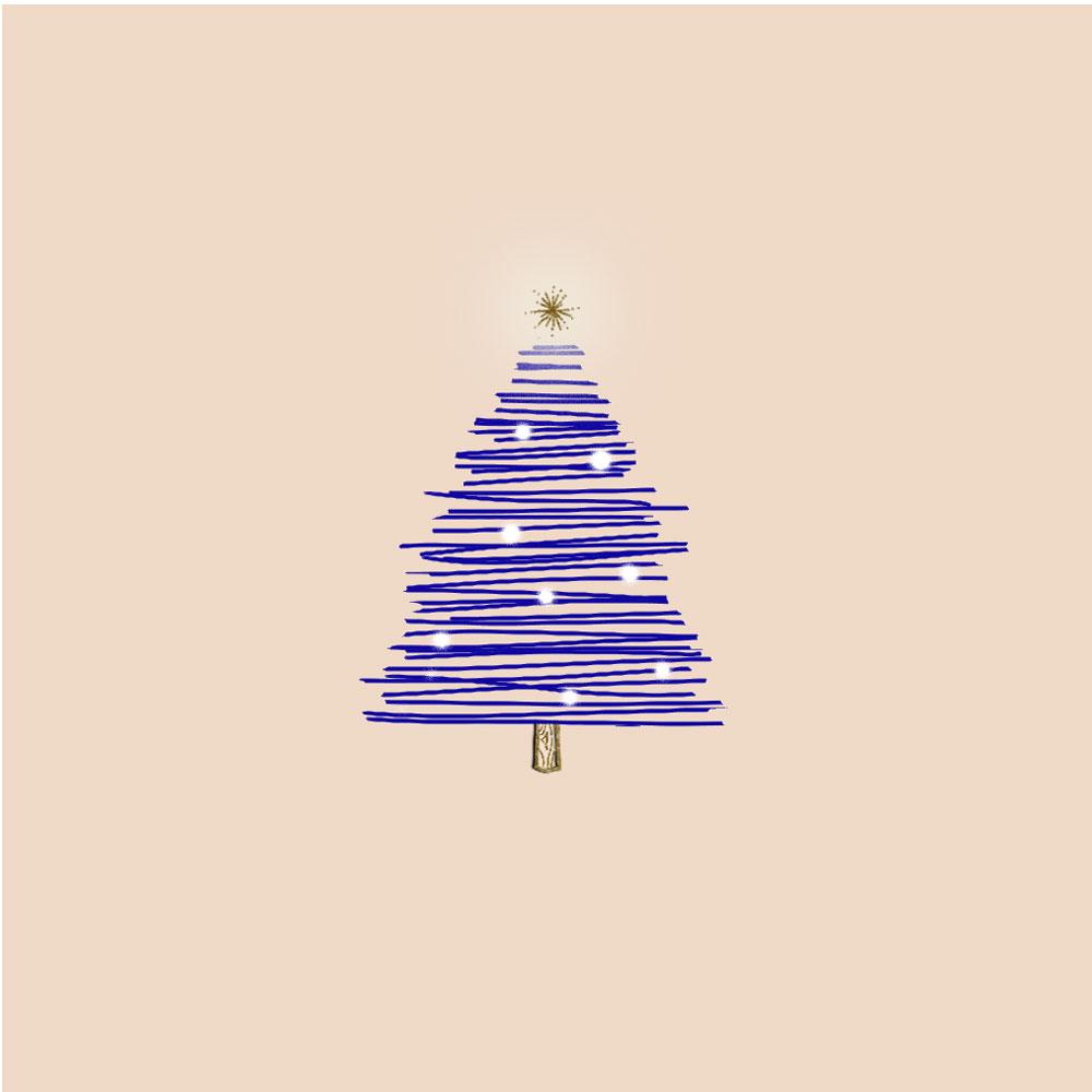 Christmas tree digital illustration by Shadalene Villaluz. Created via the Procreate iPad app and Adobe Photoshop.