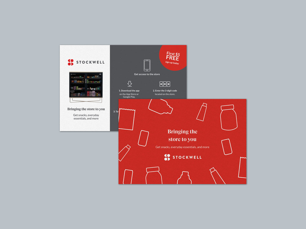 Postcards - Custom pattern and icons | Promotional handouts to show customers how to use the Stockwell