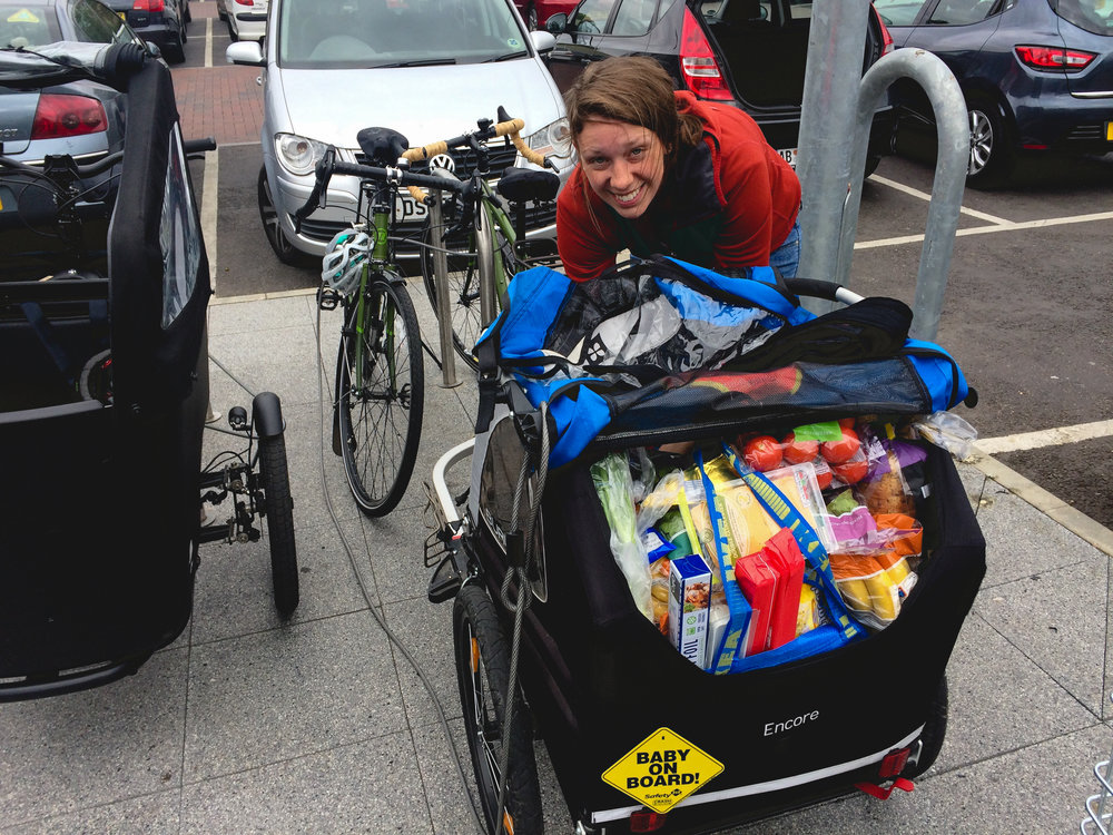 We inveriably are packed to the gills during the weekly grocery run. (We also somehow always justify leaving some panniers at home. We tell ourselves that this week won't be as bad...)