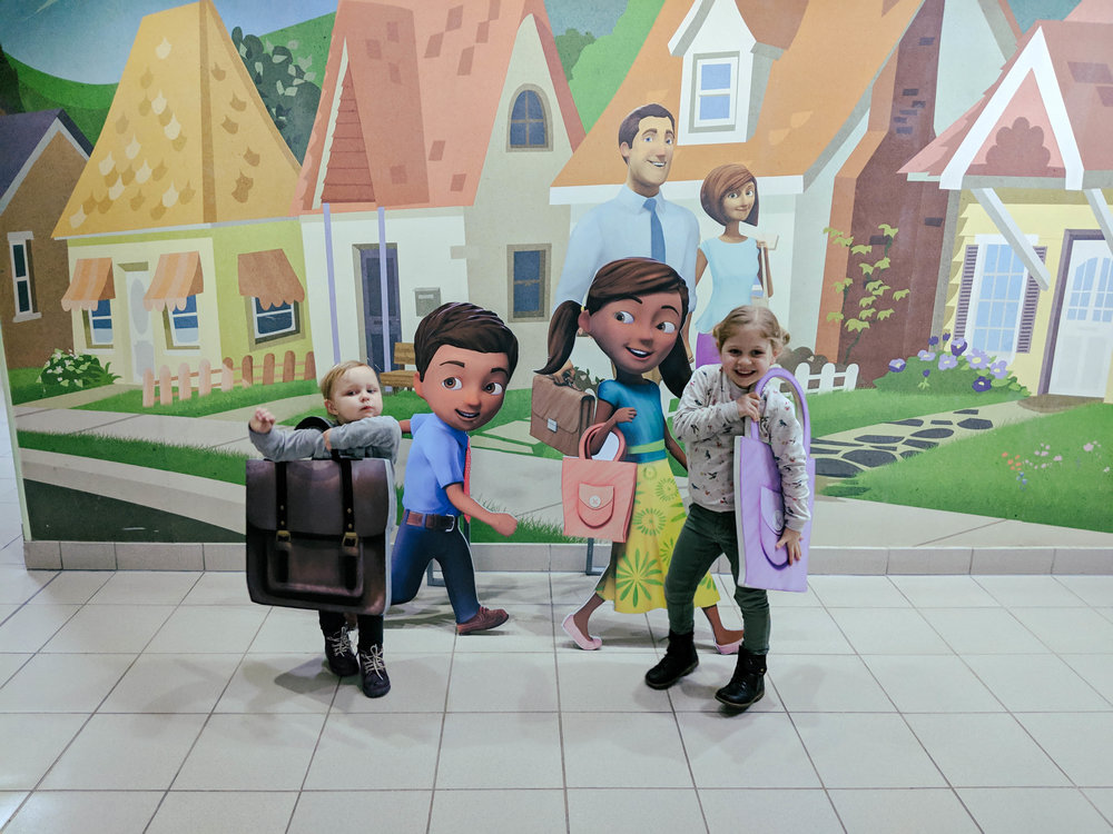 When we were in Almaty, Kazakhstan, we went o a tour of a Jehovah's Witness Bethel (thier regional office). The girls found  Caleb and Sophia , cute characters from a series of children's videos that teach good Bible principles.