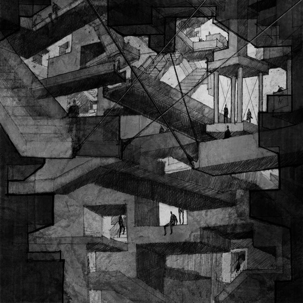 피라네시 (Giovanni Battista Piranesi, 1720-1778)의 지하감옥 연작에 감명받아 그려본 부유하는 계단 (2019, ipad) 나도 연작으로 그려볼까 생각중이다.