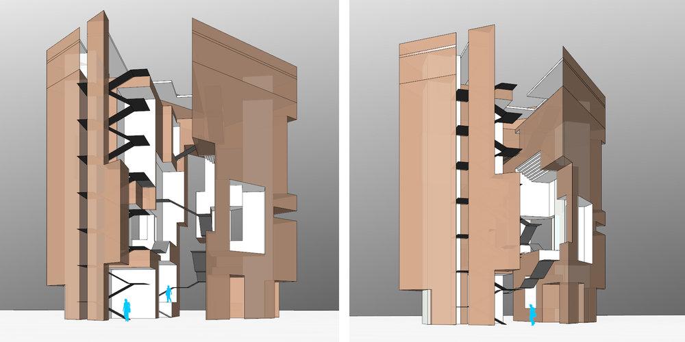 사각형에서 사각형의 공간을 덜어냈던 메스 스터디. 녹슨 철로 모델을 만들자는 얘기가 나왔다. (만들걸 그랬다)