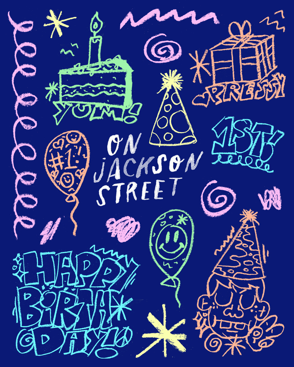 1st birthday illustrations for On Jackson Street, created lovingly by my partner, Oliver.