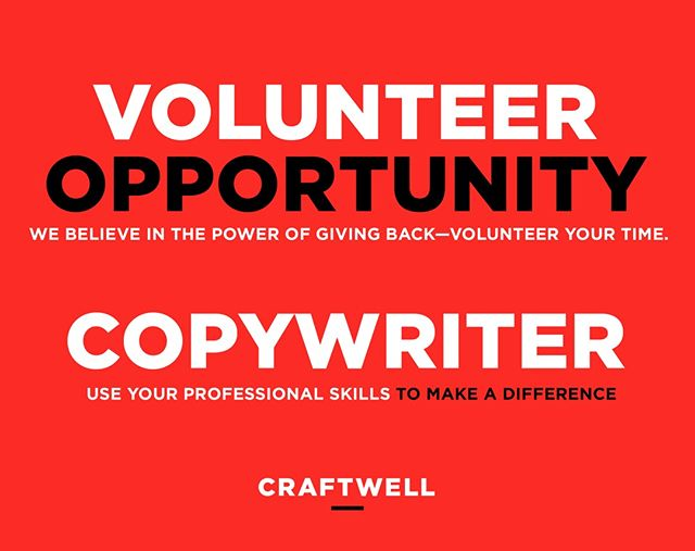 Use your professional copywriting skills to make a difference.  https://www.linkedin.com/pulse/flex-your-creative-musclevolunteer-rebecca-heinemann/  #copywriting #volunteer
