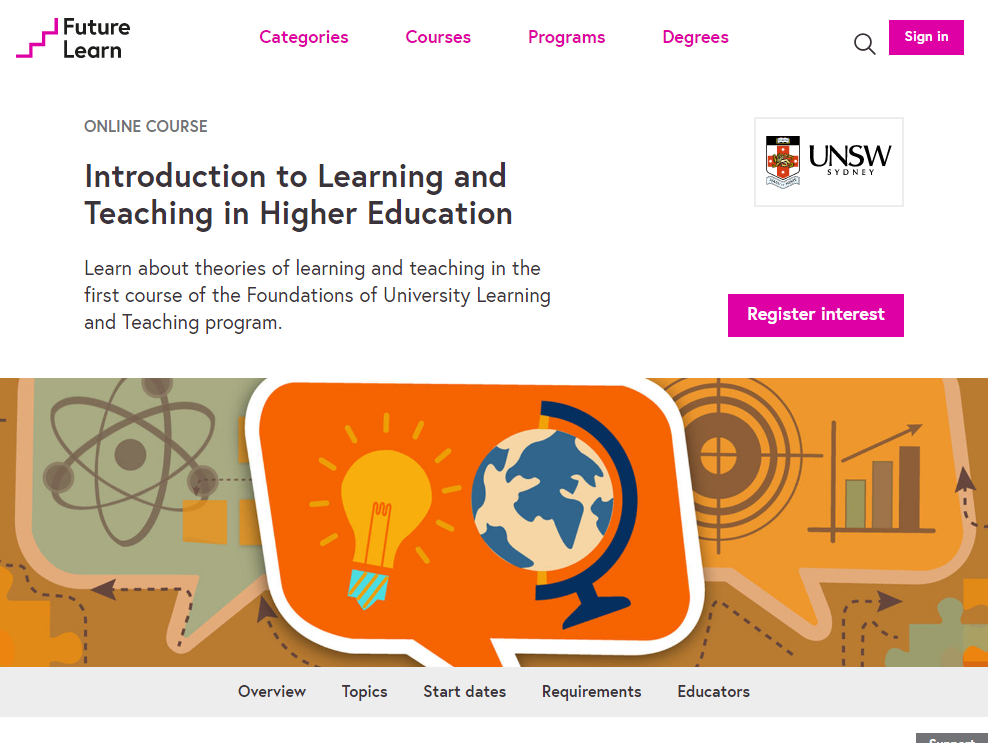 FutureLearn employs a clean and minimalist design aesthetic