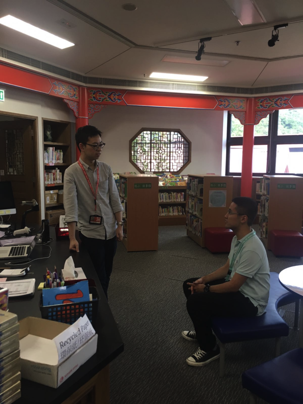 Benjamin visited the Chinese Library and met Chinese Librarian Joe Kwok