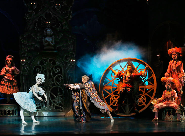 Ako Kondo, Andrew Killian, and Chengwu Guo in The Australian Ballet's  Coppélia , photographed by Jeff Busby