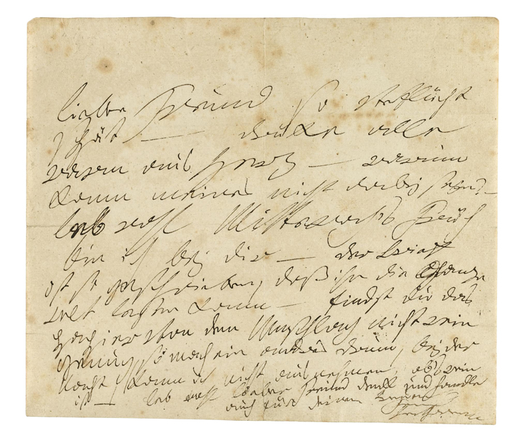 """""""Autograph letter signed (""""Beethoven"""") to [Baron Ignaz von Gleichenstein] .... apparently a covering letter for one to Therese Malfatti, the probable dedicatee of Beethoven's Für Elise, complaining about the late hour and regretting not to be in his friend's company, mentioning that he will see him on Wednesday, stating that the enclosed letter is written for the whole world to see [i.e. it contains nothing compromising], and observing that he should find another envelope if he thinks that the present one is not clean enough, it being at the moment too dark for him to tell."""" [Source: Sotherby's]"""