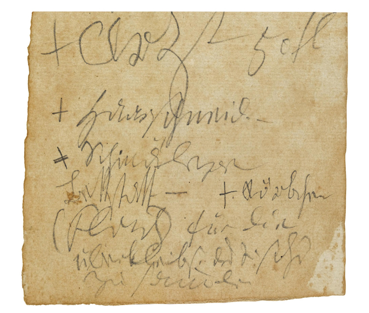 """Autograph leaf from a conversation book, apparently unpublished, about domestic matters, music and Schindler, written in pencil in Beethoven's wayward late hand, containing a mixture of shopping-list and comment, mentioning the carpenter, wigmaker, doctor, Beethoven's friend and biographer Anton Felix Schindler and, apparently, Clementi's Clavierschule, the verso containing annotations in the hand of his friend Carl Holz, evidently recording a conversation with Beethoven concerning a social gathering attended by Beethoven's friend Castelli and his publisher Tobias Haslinger"" [Source: Sotherby's]"