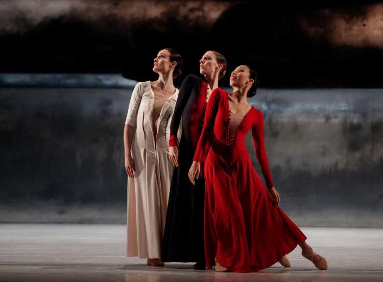 The Australian Ballet's Amber Scott, Lana Jones, Karen Nanasca performing inJiří Kylián's  Forgotten Land , 2016, photographed by Jeff Busby