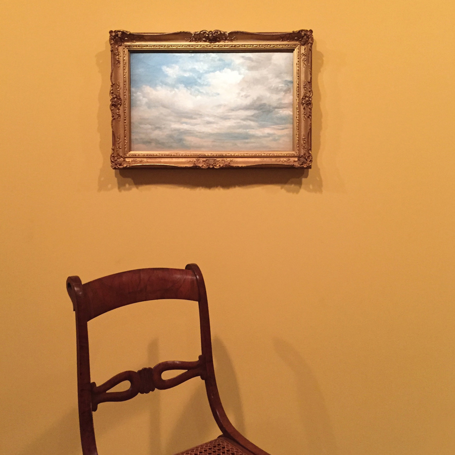 John Constable's  Clouds  , 1822, oil on paper on cardboard, with a chair-ladder for the field mouse that slept in his pocket as he captured the beauty of skying.