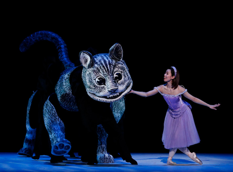 Ako Kondo as Alice with the Cheshire Cat in Christopher Wheeldon's  Alice's Adventures in Wonderland , 2017, photographed by Jeff Busby