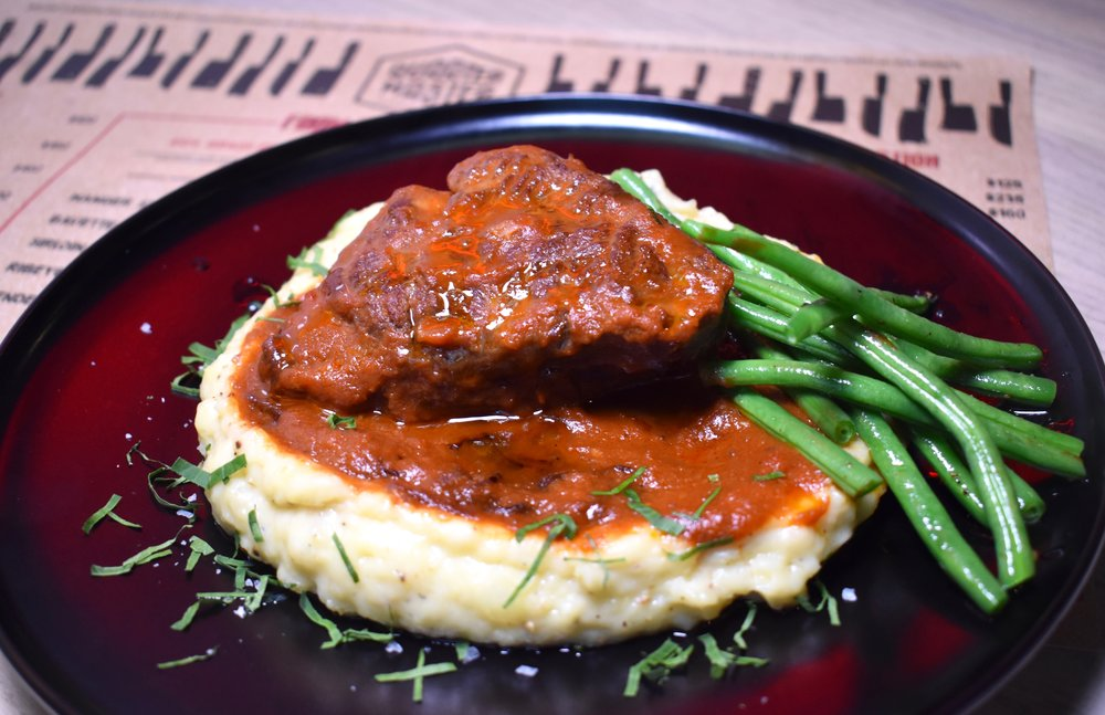 Slow-cooked Lunches - Melt-in-your-mouth grass-fed beef cheek, truffle mash, French beans and smoked onion gravy, an ideal winter lunch.