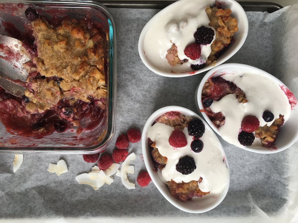 Lighter, Brighter You Blog Recipe: Apple, Berry and Rhubarb Gluten-Free Crumble