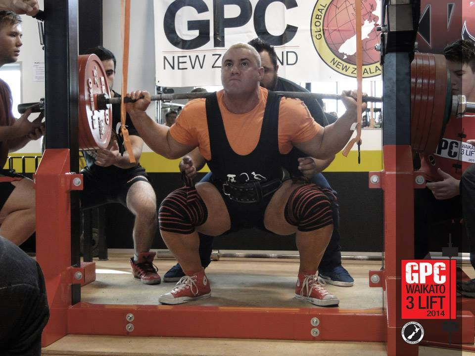 Hamish 'Quadzilla' Coulter during his record breaking 330kg Squat at the GPC Waikato Champs. Photo: Supplied.