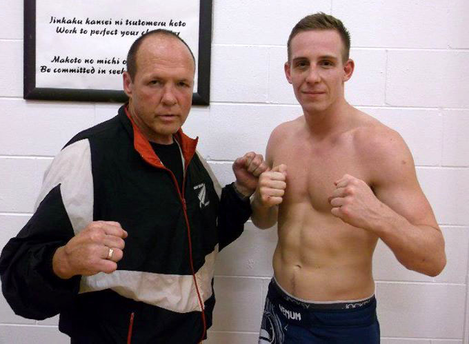 Terry Hill with student and multiple time NZ Muay Thai/K1 champ Jeff Abbott. Photo: Marie Brown.