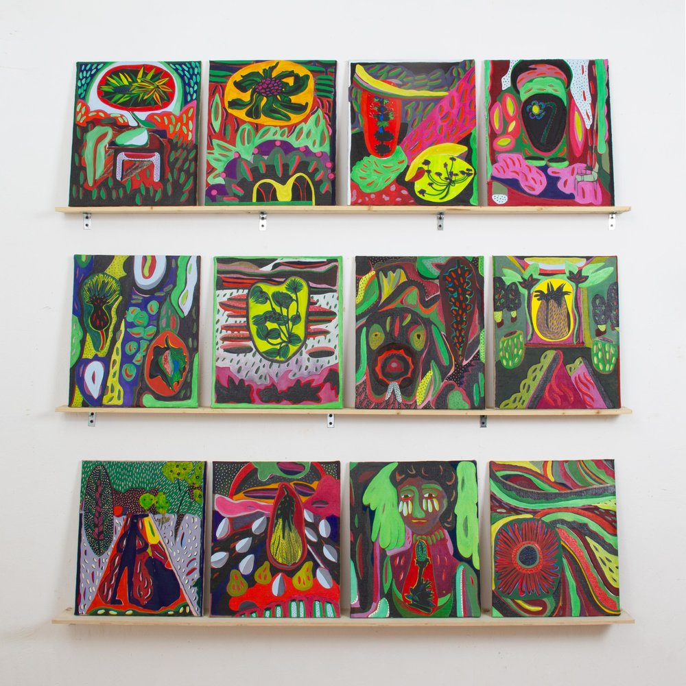 Installation shot, 12 paintings
