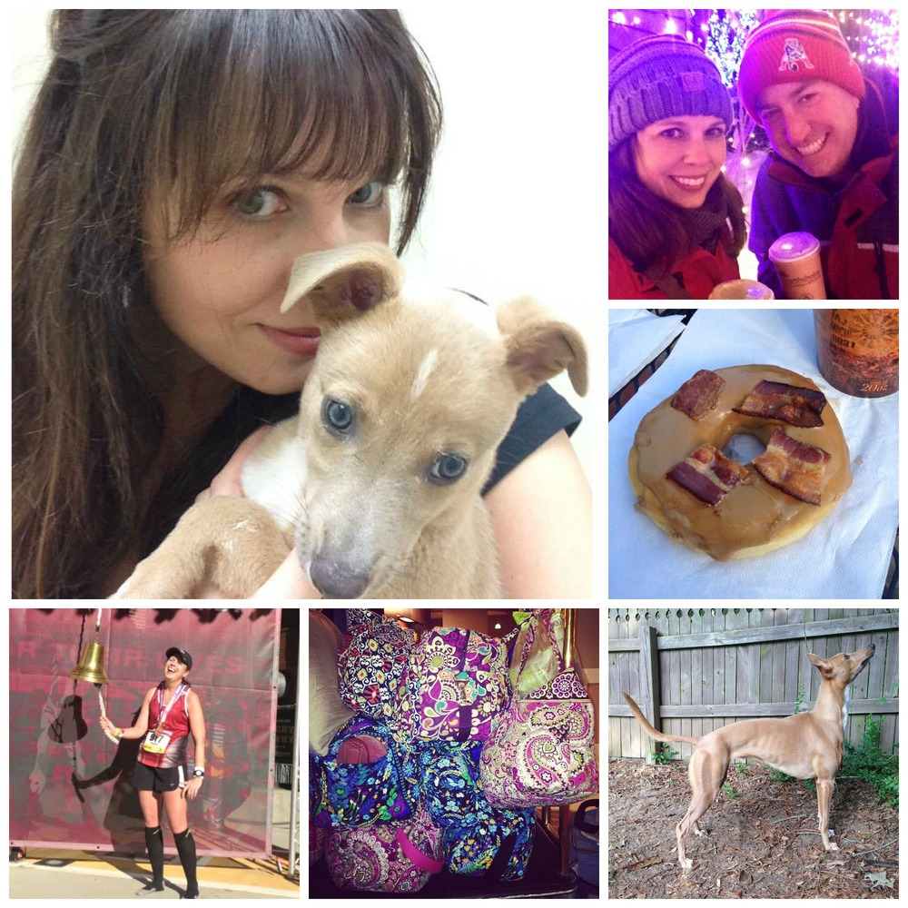 Heather loves her husband, her dog, running, Vera Bradley and maple bacon donuts.