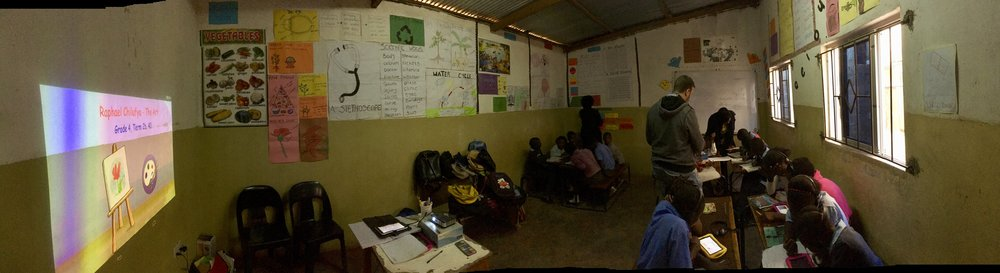Panoramic view from inside a classroom at Life Christian School, Mtendere East