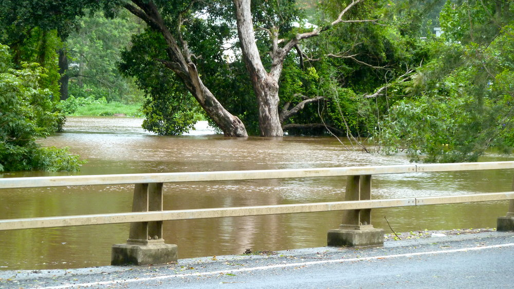 Creek waters level with the bridge at Kyogle
