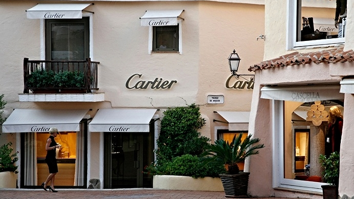 Cartier is one of the select jewelers that has a boutique in Porto Cervo's appealing center. Photograph: Alamy