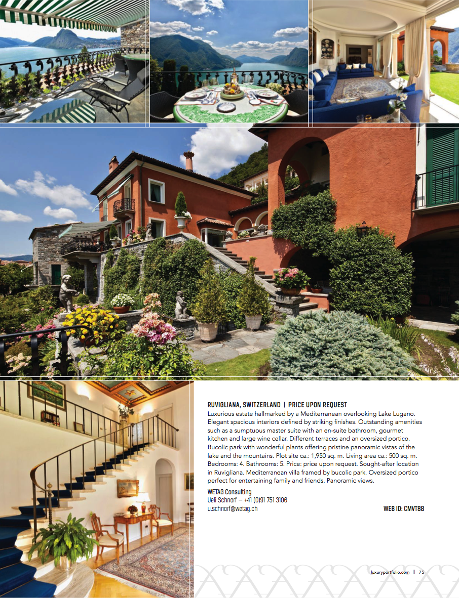Page 75, Luxurious estate hallmarked by a Mediterranean overlooking Lake Lugano.