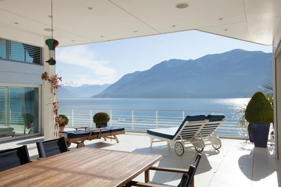 Luxury lake front penthouse at lake Maggiore for sale in Ticino, Switzerland