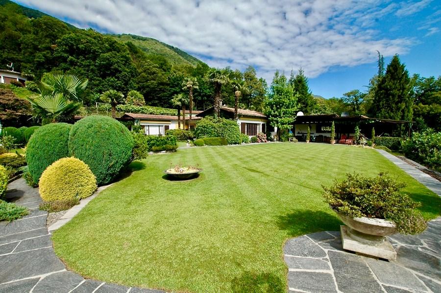 Un giardino da sogno simile ad un parco, con piscina