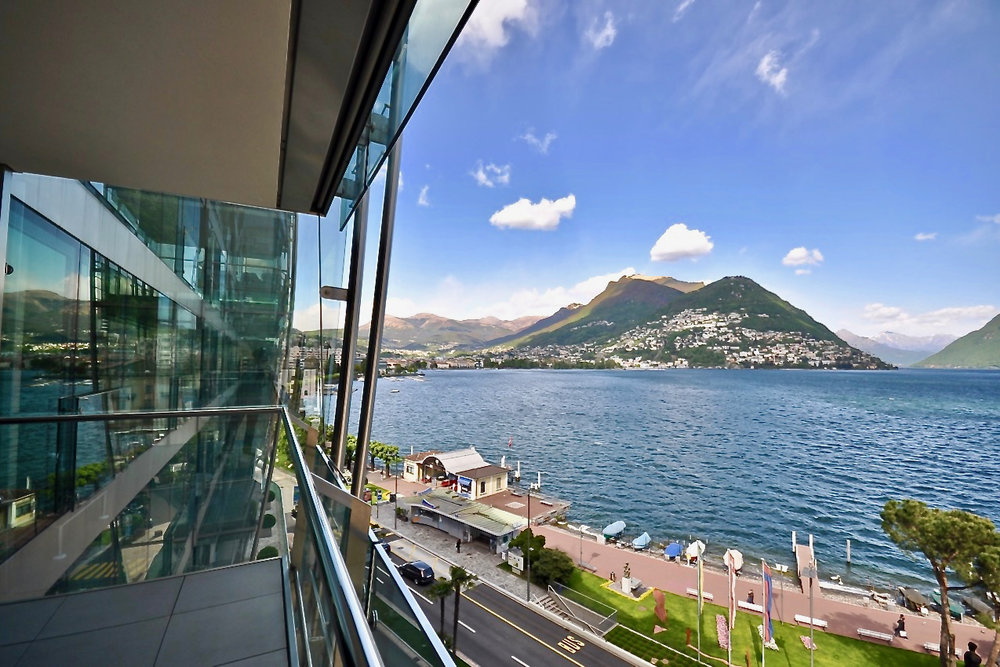 "Lake Lugano view from the apartment in the most exclusive residence ""Mantegazza"" in Lugano-Paradiso at Lake Lugano for sale"