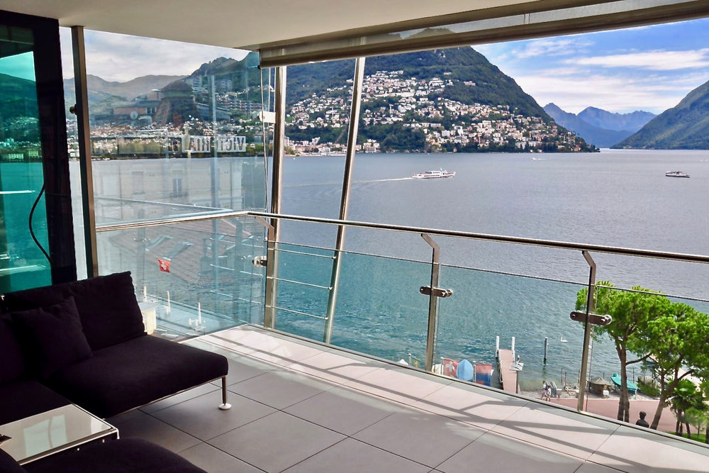 "Lake Lugano view from the apartment in the most exclusive residence ""Mantegazza"" in Lugano-Paradiso at Lake Lugano, Switzerland for sale"