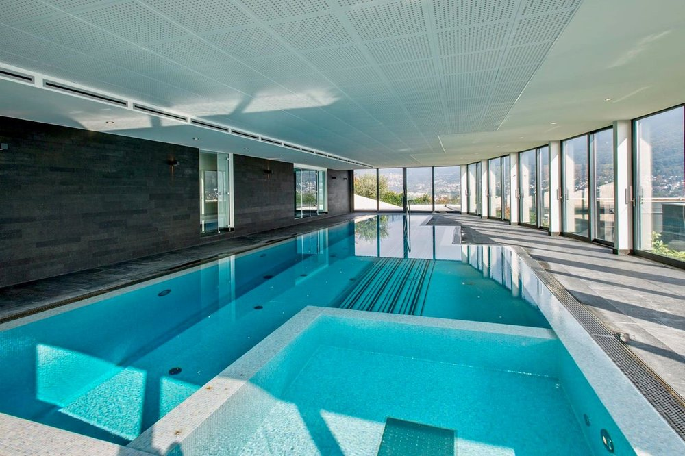 Fitness & wellness area, Luxury apartment in Belvedere district of Porza, Switzerland near Lugano for sale