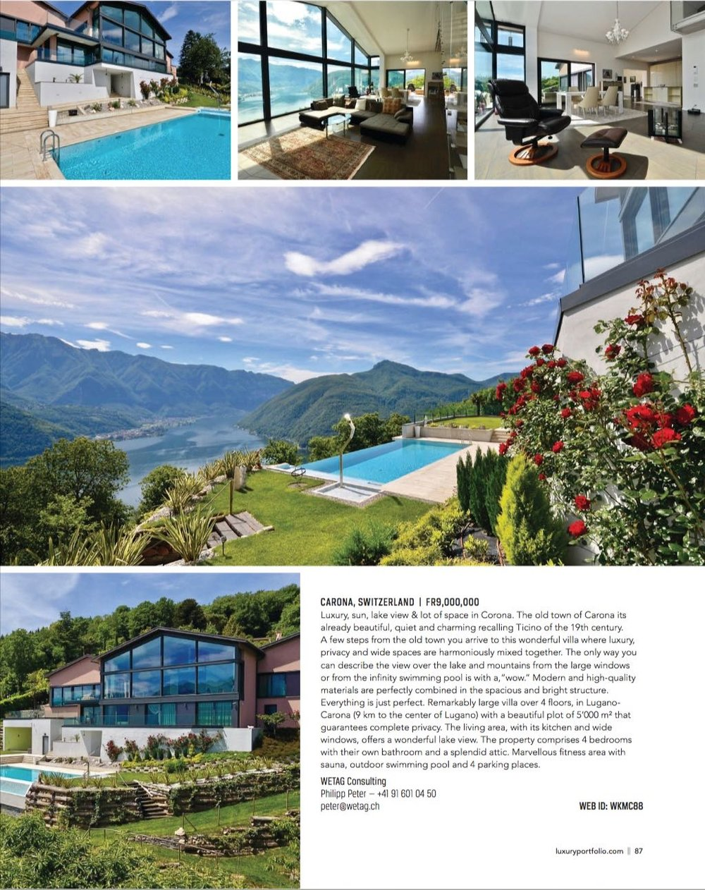 Luxury villa for sale in Carona, Switzerland, listed at Luxury Portfolio Magazine spring 2018 edition