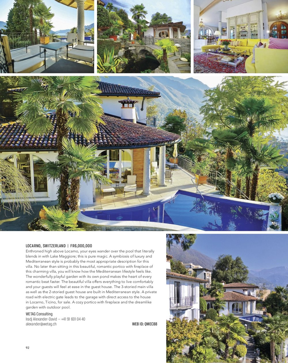 Luxury villa for sale in Carona, Switzerland, listed at Luxury Portfolio Magazine spring 2018 edition