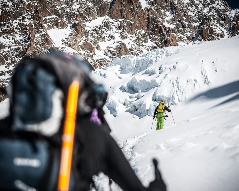 ski touring | ski mountaineering Heading up the Col du Chardonnet on the infamous Haute Route . photo @alexandrebuisse