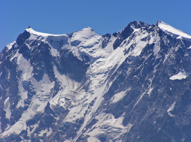 Monte Rosa 2nd highest peak of the Alps, looking at the impressive Marinelli Couloir seen from Macugnaga, Italy