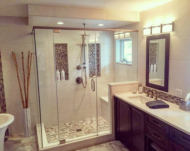 Residential bathroom design. . Our project in IL. . #architect #architecture #residentialarchitecture #bathroomremodel #design #bathroomideas