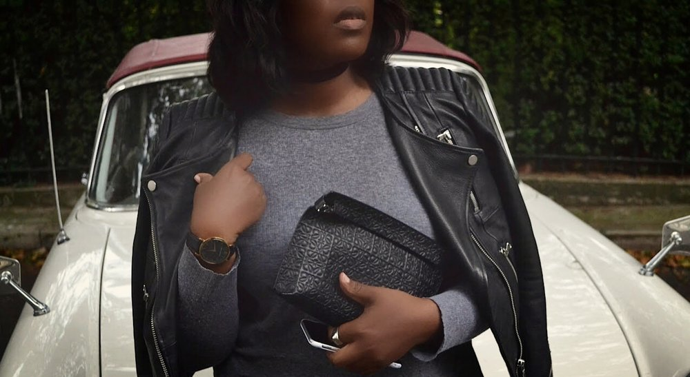 Leather Jacket/ HM Top/ AND OTHER STORIES clutch/LOEWE Choker/ACCESSORIZE