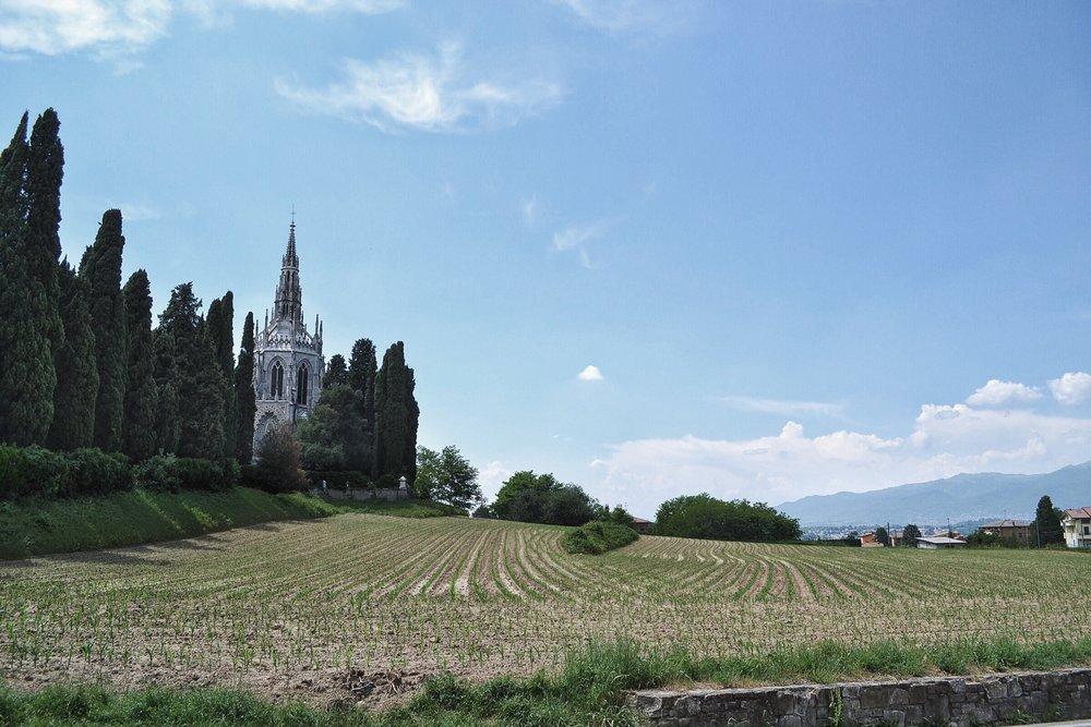 views of Mausoleo Visconti di Modrone in the distance.Cassago Brianza, Italy